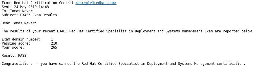 Passed EX403 Deployment and Systems Management with